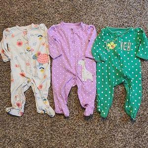 Carters Bundle Baby Girl Sleeper Footies Size 3-6M